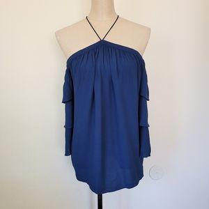 1.State cold shoulder blue blouse XS